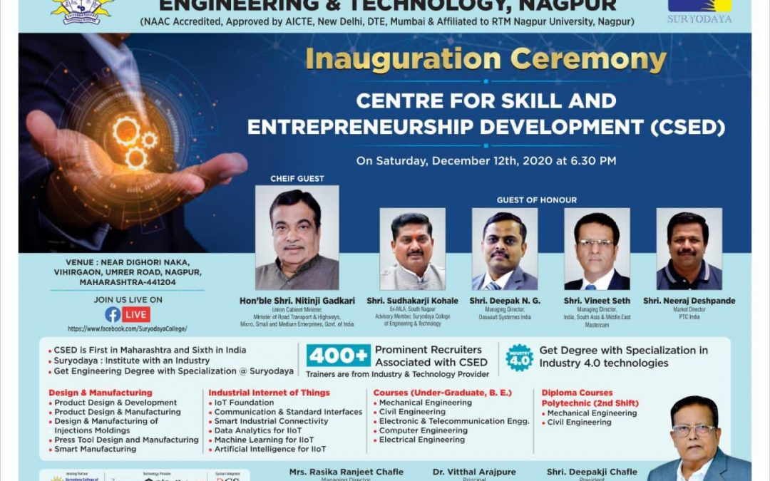 Hon'ble Shri Nitinji Gadkari to Inaugurate CSED at SCET